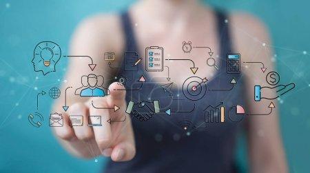 Photo pour Femme d'affaires sur fond flou protégeant ses données avec une interface de sécurité de ligne mince - image libre de droit