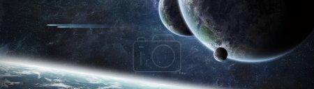 Foto de Vista panorámica de planetas en sistema solar distante espacio 3d representación elementos de esta imagen proporcionada por la Nasa - Imagen libre de derechos