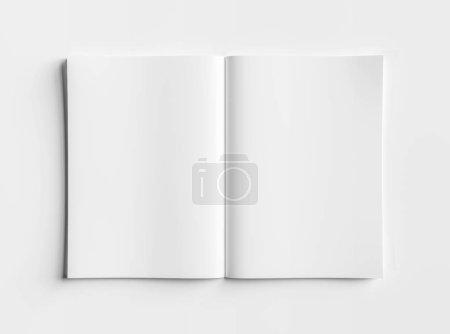 Photo pour Isolé blanc ouvert magazine maquette sur fond blanc rendu 3D - image libre de droit