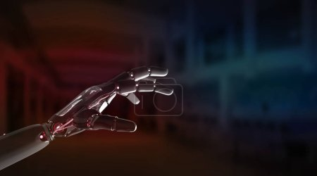 Photo for Red robot hand pointing finger on dark background 3D rendering - Royalty Free Image