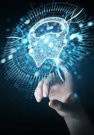 Foto de Empresaria en fondo borroso con holograma de icono de inteligencia artificial digital 3d renderizado - Imagen libre de derechos