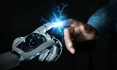 Photo for Robot hand creating electricity with human hand on dark background 3D rendering - Royalty Free Image