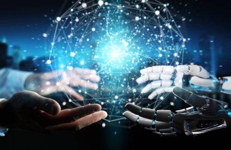 Photo pour Robot main et main humaine touchant le réseau de sphère numérique sur fond sombre rendu 3D - image libre de droit
