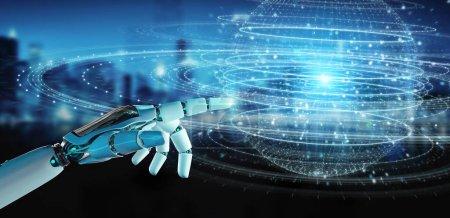 Photo pour Main de robot blanc sur fond flou en utilisant l'hologramme de connexion de sphère numérique rendu 3D - image libre de droit