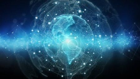 Photo pour Réseau mondial sur la planète terre rendu 3d fond bleu - image libre de droit