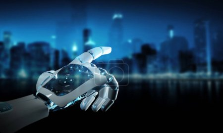 Photo for Intelligent robot machine pointing finger on dark background 3D rendering - Royalty Free Image