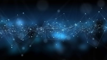 Photo pour Résumé connexion réseau numérique fond bleu rendu 3D - image libre de droit