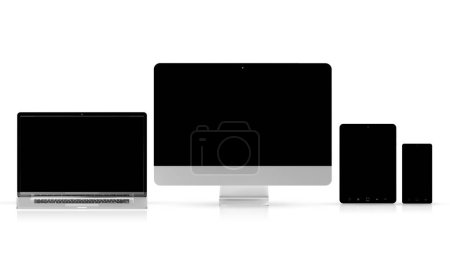Photo for Modern tech devices collection isolated on white background 3d rendering - Royalty Free Image