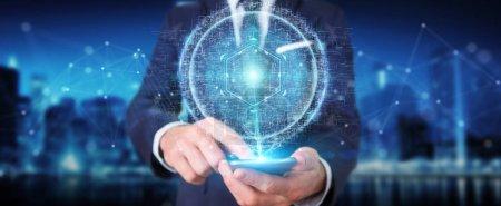 Photo pour Homme d'affaires sur fond flou en utilisant l'hologramme de connexion de sphère numérique rendu 3D - image libre de droit