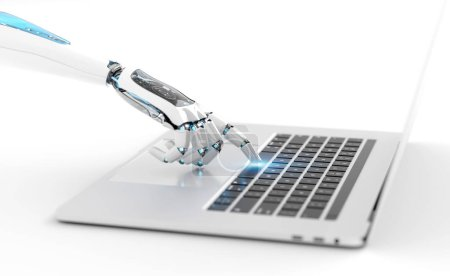 Photo for White robot cyborg hand pressing a keyboard on a laptop 3D rendering - Royalty Free Image