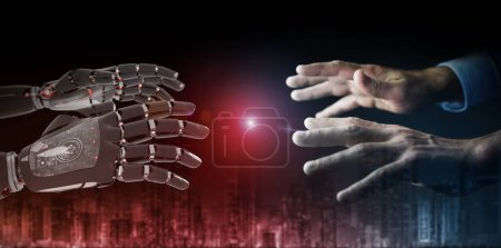 Photo for Red robot hand making contact with human hand on dark background 3D rendering - Royalty Free Image