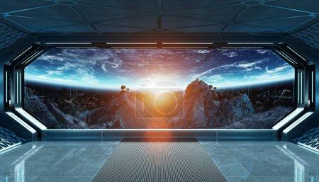 Photo pour Vaisseau spatial bleu foncé intérieur futuriste avec vue fenêtre sur l'espace et les planètes éléments de rendu 3D de cette image fournie par la NASA - image libre de droit