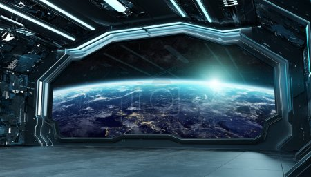 Photo for Dark blue spaceship futuristic interior with window view on planet Earth 3d rendering elements of this image furnished by NASA - Royalty Free Image