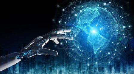 Photo pour Robot intelligent cyborg utilisant une interface globe numérique avec ses mains rendu 3D - image libre de droit