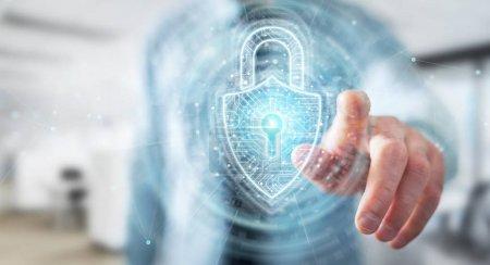 Geschäftsmann mit digitalem Vorhängeschloss Sicherheitsschnittstelle zum Schutz