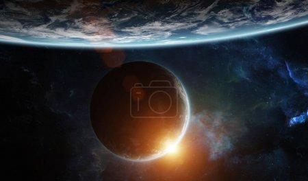 Photo pour Système planétaire lointain dans l'espace avec exoplanètes au lever du soleil éléments de rendu 3D de cette image fournie par la NASA - image libre de droit