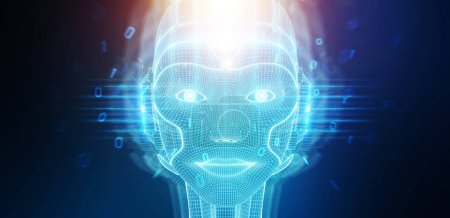 Photo for Robotic woman cyborg face representing artificial intelligence concept 3D rendering - Royalty Free Image