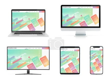 Photo for Modern devices with smartphone laptop computer and tablet isolated on white background mockup 3D rendering - Royalty Free Image