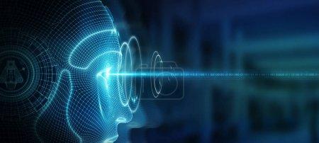 Photo pour Face de cyborg de robotique femme représente le rendu 3d de l'intelligence artificielle concept - image libre de droit