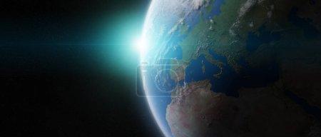 Foto de Vista del planeta azul Tierra en el espacio con su atmósfera Europa continente 3D elementos de representación de esta imagen proporcionados por la NASA - Imagen libre de derechos