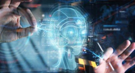 Businessman using digital artificial intelligence head interface