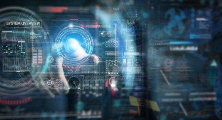 Photo pour Homme d'affaires sur fond sombre en utilisant une interface technologique numérique avec des données rendu 3D - image libre de droit