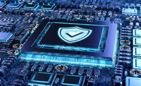 Photo pour Vue rapprochée d'un circuit de carte GPU moderne avec rendu 3D activé par la cybersécurité - image libre de droit
