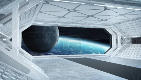Photo for White blue spaceship futuristic interior with window view on planet Earth 3d rendering elements of this image furnished by NASA - Royalty Free Image