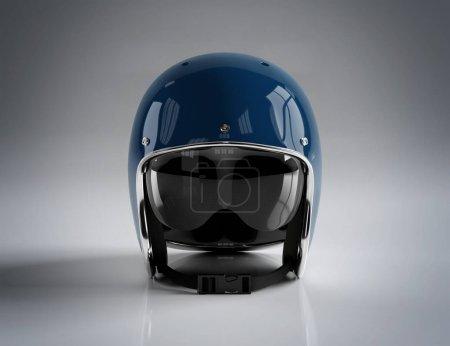 Photo pour Casque moto vintage rétro bleu isolé sur fond gris Mockup rendu 3D - image libre de droit