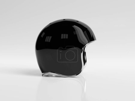 Photo for Black retro vintage motorbike helmet isolated on white background Mockup 3D rendering - Royalty Free Image