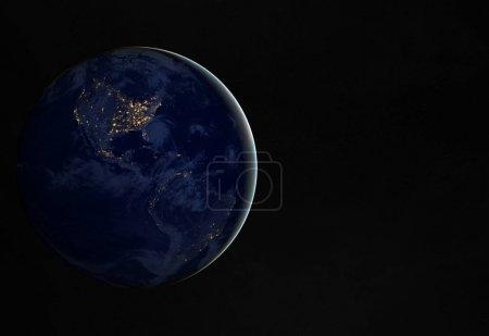 Foto de Vista del planeta azul de la Tierra por la noche con las luces de las ciudades en América 3D elementos de representación de esta imagen proporcionados por la NASA - Imagen libre de derechos