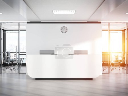 Photo pour Réception blanche vierge dans un bureau en béton brillant avec de grandes fenêtres Moquette rendu 3D - image libre de droit
