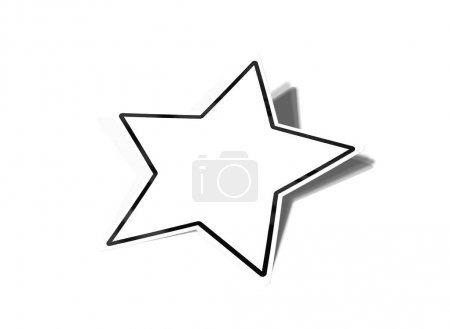 Star shaped sticker mockup isolated on white 3D rendering