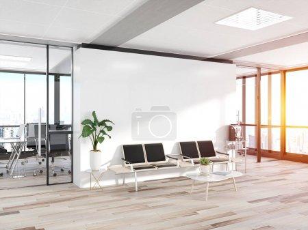 Photo pour Mur blanc vierge dans une salle d'attente en béton brillant avec de grandes fenêtres Moquette rendu 3D - image libre de droit