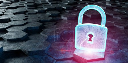 Black blue and pink padlock icon on hexagons background 3D rende