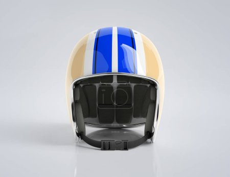 Photo for Blue and Yellow retro vintage motorbike helmet isolated on white background Mockup 3D rendering - Royalty Free Image