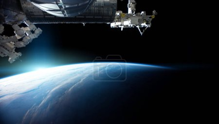 View of planet Earth from a space station window during a sunris