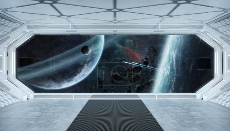 Photo for White blue spaceship futuristic interior with window view on space and planets 3d rendering elements of this image furnished by NASA - Royalty Free Image