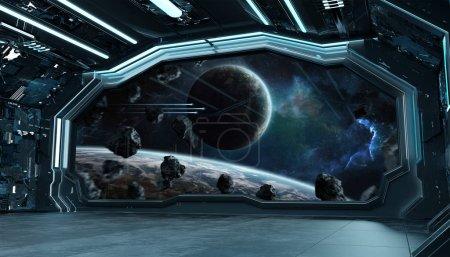 Navire spatial bleu foncé intérieur futuriste avec vue fenêtre sur spac