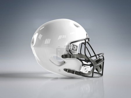 Photo for White American football helmet isolated on grey background mockup 3D rendering - Royalty Free Image