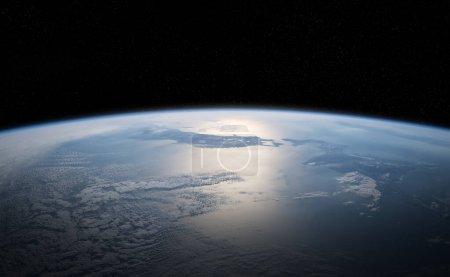 Photo pour Vue de la planète bleue Terre proche de l'atmosphère pendant un lever de soleil 3d édulandant des éléments de cette image fournie par la Nasa - image libre de droit