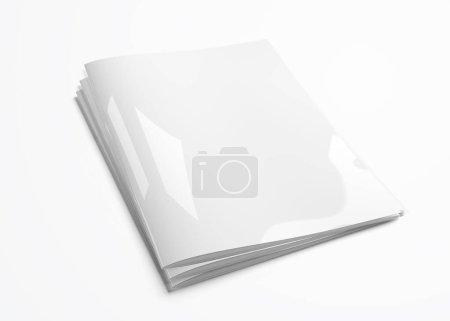 Photo pour Couverture souple magazine pile maquette isolé sur fond blanc rendu 3d - image libre de droit