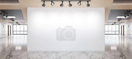 Photo pour Mur blanc en marbre brillant et maquette de bureau en bois avec grandes fenêtres et soleil passant par le rendu 3D - image libre de droit