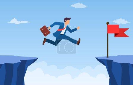 Illustration pour Homme d'affaires a sauté par-dessus la falaise au drapeau rouge.Concept de risque et de succès de l'entreprise. Franchir les obstacles aux objectifs. Concurrence et leadership en affaires. Illustration vectorielle en style plat. - image libre de droit
