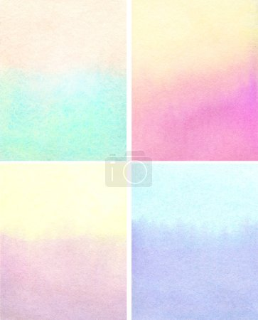Photo for Set of watercolor abstract backgrounds in natural pastel colors. light turquoise, yellow, pink, colors, hand painted illustration - Royalty Free Image