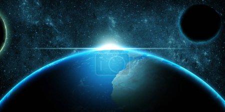 Foto de Planet Earth over deep space fantasy blue background - Imagen libre de derechos
