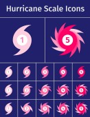 Set of hurricane scale icons on blue backgrounds Symbolic display of wind force in a hurricane