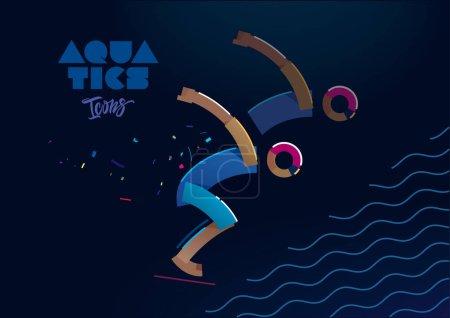 Aquatic sport. line icons
