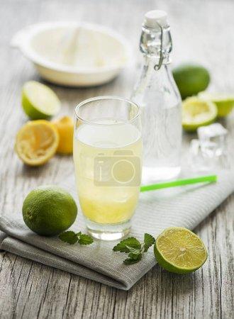Photo pour Citronnade ou jus de citron et menthe, boisson rafraîchissante froide ou boisson glacée - image libre de droit