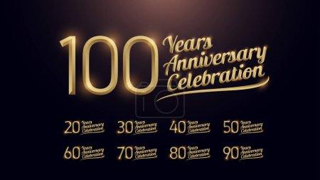 Illustration pour 20, 30, 40, 50, 60, 70, 80, 90, 100 anniversaire célébration numéro or et fond sombre graphique doré. illustration vectorielle - image libre de droit